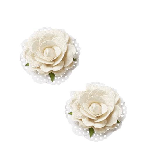 Rosen in Leinen-Optik - creme - 6 cm - 2 Stück