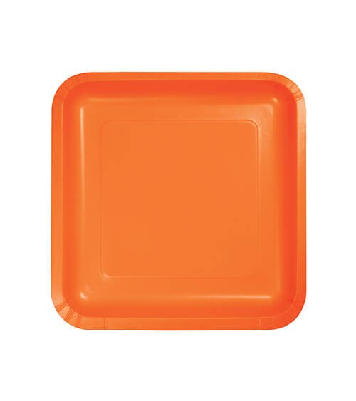 Kleine eckige Pappteller - orange - 18 Stück