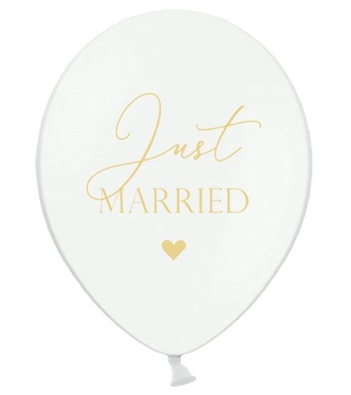"""Luftballons """"Just Married"""" - weiß/gold - 6 Stück"""