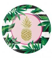 """Pappteller """"Goldene Ananas"""" - 8 Stück"""