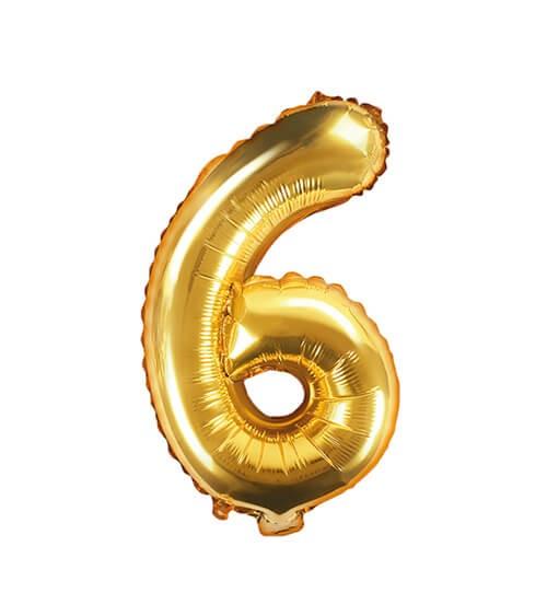 "Folienballon Zahl ""6"" - gold - 35 cm"