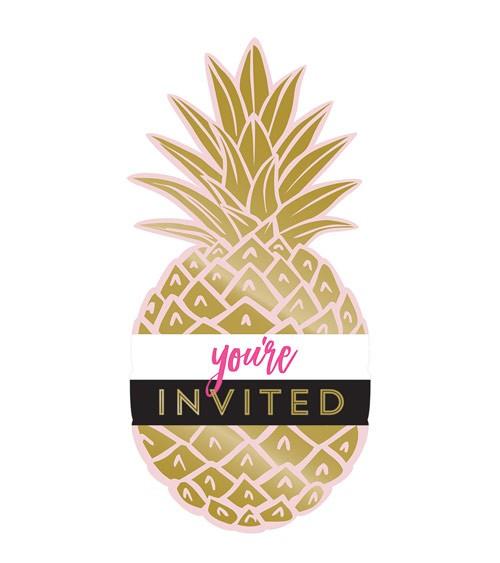 """Einladungskarten """"Goldene Ananas"""" - 8 Stück"""