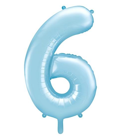 "Supershape-Folienballon ""6"" - pastellblau - 86 cm"