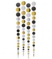 Konfetti-Girlandenvorhang - gold, silber, schwarz - 4 Stück