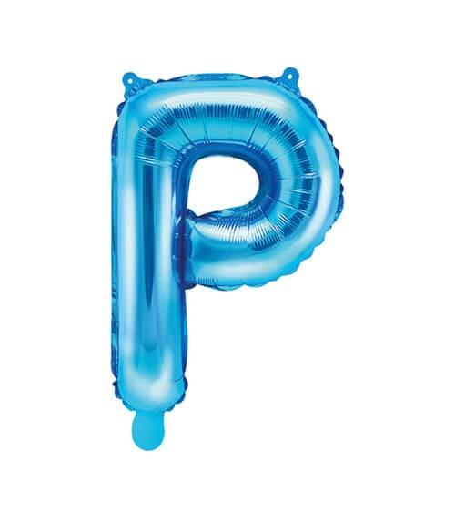"""Folienballon Buchstabe """"P"""" - blau - 35 cm"""