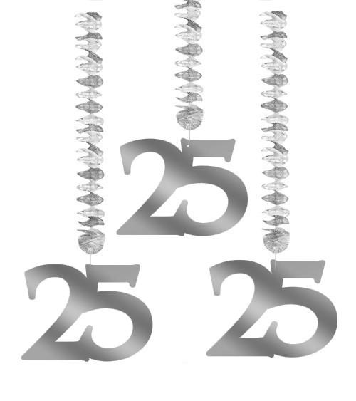"Spiralgirlanden ""25"" - silber - 3 Stück"