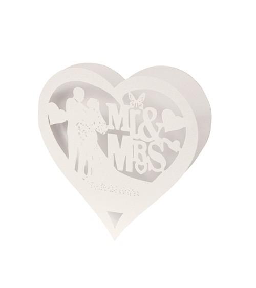 """Tischkarten in Herzform """"Mr & Mrs"""" - creme - 16 x 8 cm - 5 Stück"""