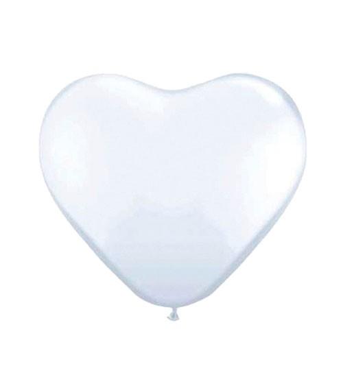 Herz-Luftballons - 25 cm - weiß - 100 Stück