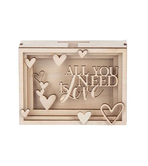 """DIY 3D-Geschenkbox aus Holz """"Love"""" - 11,5 x 8,5 x 5 cm"""