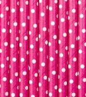 Papierstrohhalme mit weißen Punkten - pink - 10 Stück