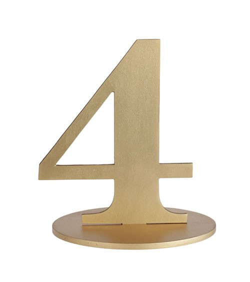 "Zahl aus Holz ""4"" - gold - 13 x 16 cm"