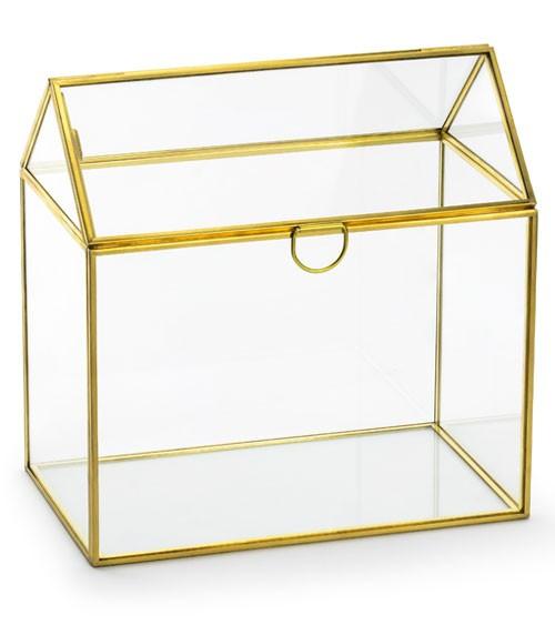 Glasbox in Hausform mit goldenen Kanten - 13 x 21 x 21 cm