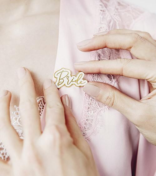 """Anstecker """"Bride"""" - weiß, gold - 3,5 x 2 cm"""