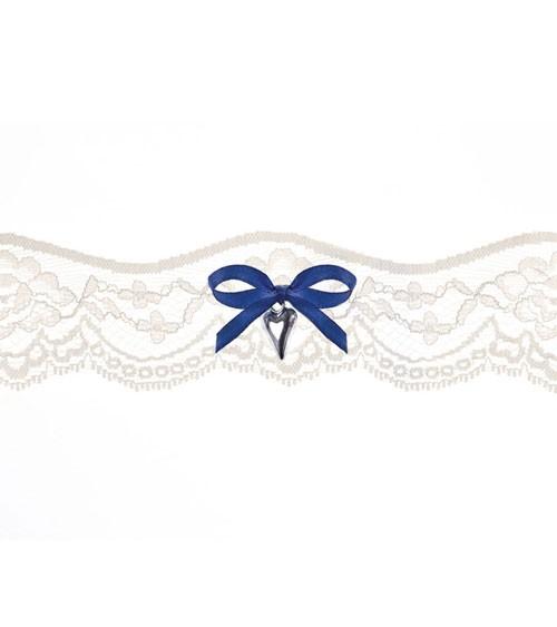 Strumpfband aus Spitze mit dunkelblauer Schleife - creme