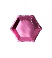 Sechseckige Mini-Pappteller - metallic pink - 8 Stück