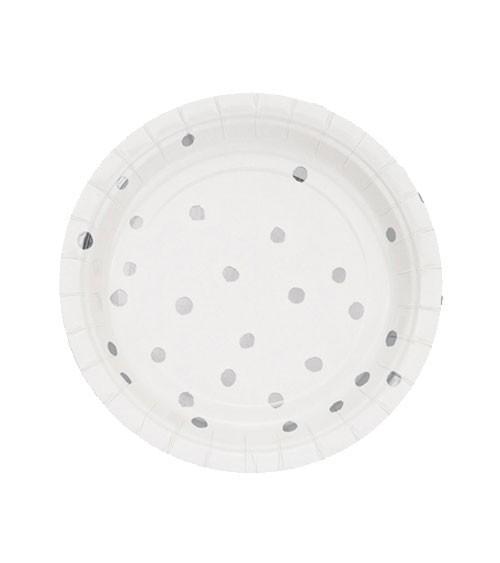 Kleine Pappteller - weiß/silber - 8 Stück