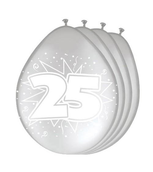"""Metallic-Luftballons """"25"""" - silber - 8 Stück"""