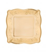 Kleine Pappteller mit Prägung - gold -  8 Stück