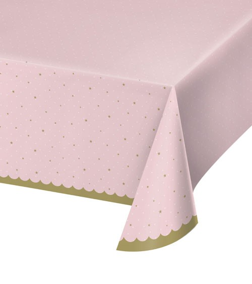 Kunststoff-Tischdecke - rosa, mit Sternchen - 137 x 259 cm