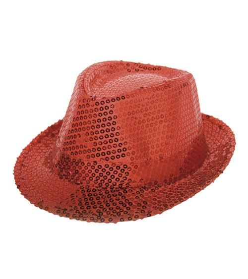 Trilby-Hut mit Pailletten - rot
