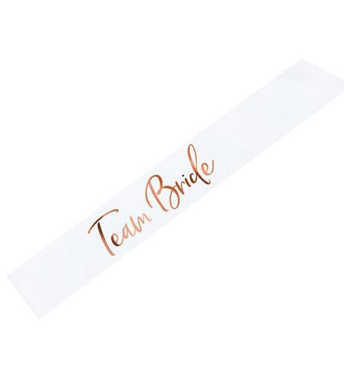 """Satin-Schärpe """"Team Bride"""" - weiß & rosegold - 75 cm"""