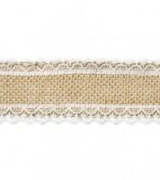 Jute-Band mit Spitzenrand - 5 cm x 5 m