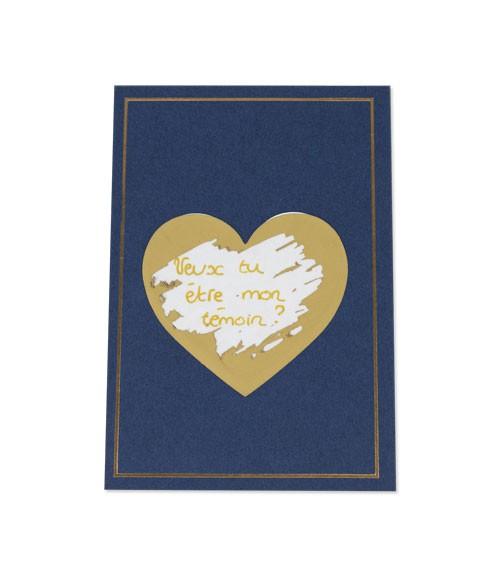 Karten mit Rubbel-Herzen & Umschlägen - marine - 5 Stück