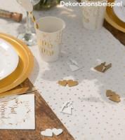 """Holz-Streuteile """"Hochzeit"""" - weiß/gold - 18-teilig"""