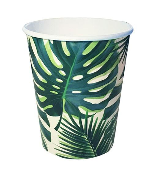 """Pappbecher """"Tropical Fiesta"""" - Palmblätter - 8 Stück"""