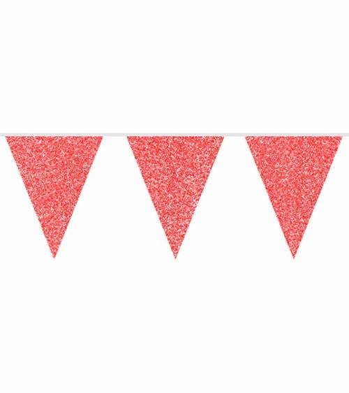 Wimpelgirlande mit Glitter - rot - 6 m