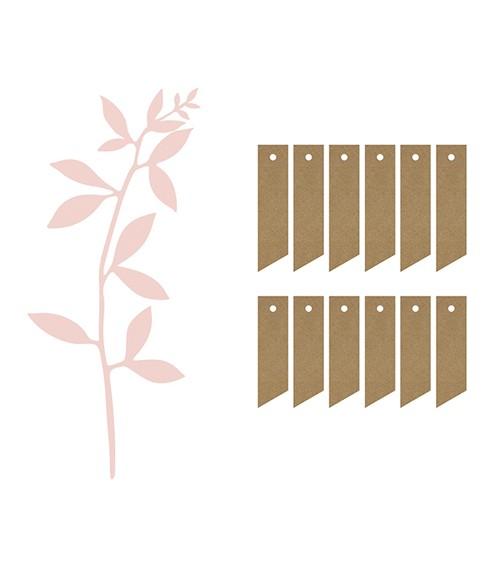 """Papierdeko """"Zweige"""" mit Anhängern - puderrosa - 19-teilig"""