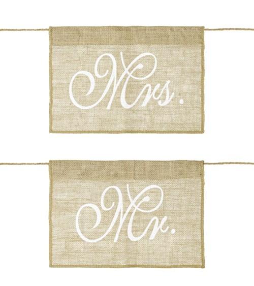 """Stuhlschilder aus Jute """"Mr. & Mrs."""" - 30 x 21,5 cm"""