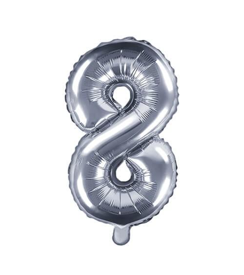 """Folienballon Zahl """"8"""" - silber - 35 cm"""