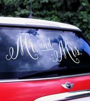 """Sticker für das Hochzeitsauto """"Mr and Mrs"""" - 3-teilig"""