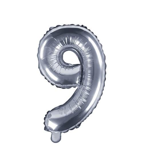 """Folienballon Zahl """"9"""" - silber - 35 cm"""