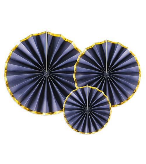 Rosetten-Set - navyblue/gold - 3-teilig