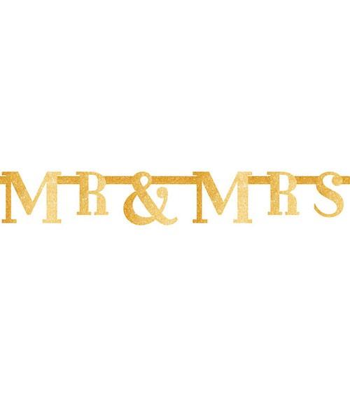 "Glitzer-Girlande ""Mr & Mrs"" - gold - 1,3 m"