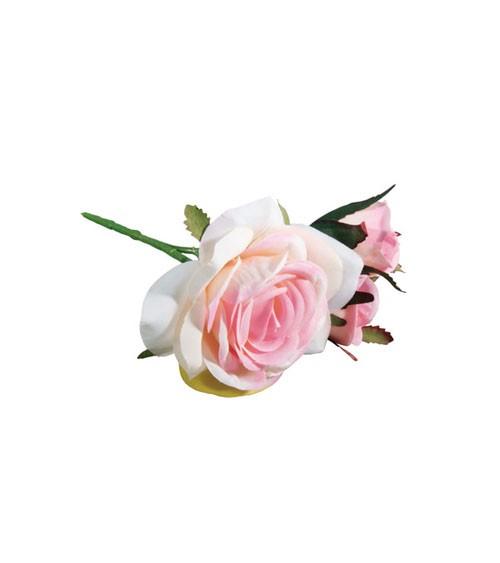Künstliche Rose mit 3 Blüten - rosa - 15 cm