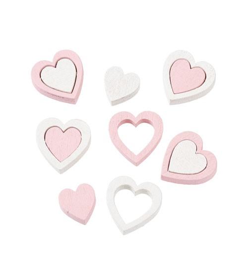Herz-Streuteile aus Holz - weiß/rosa - 12-teilig