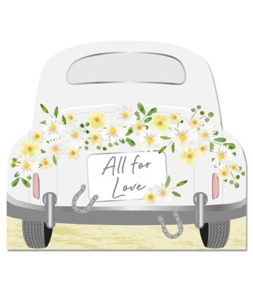 """Shape-Servietten Hochzeitsauto """"All for Love"""" - 16 Stück"""