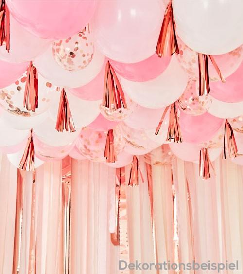 Ballon-Deko-Set für Decken - rosa, weiß, rosegold - 179-teilig