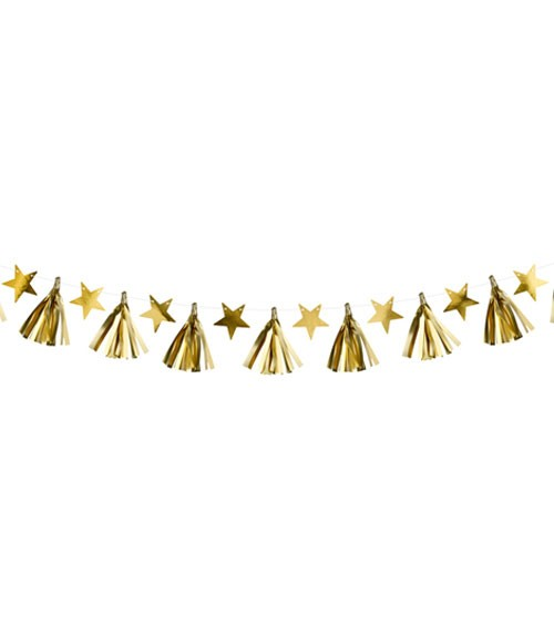 DIY Metallic-Girlande mit Sternen und Tasseln- gold - 1,3 m