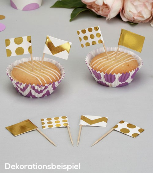 "Cupcake-Picks ""Gold"" - Punkte/Chevron - 20 Stück"