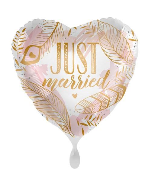 "Herz-Folienballon ""Just Married"" - Boho Feathers - 43 cm"