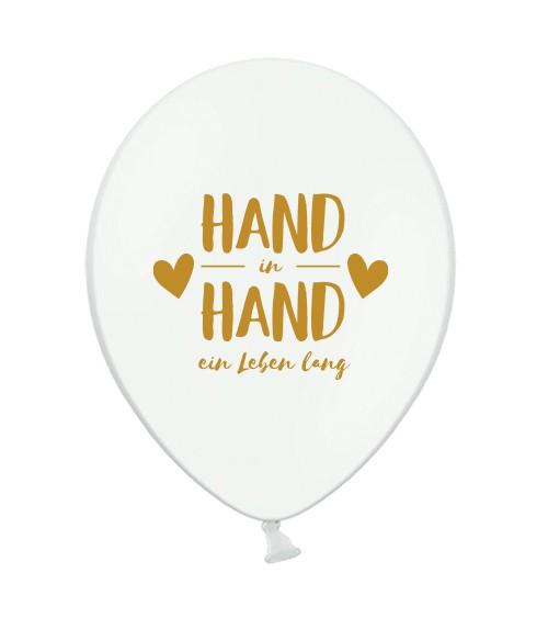 "Luftballons ""Hand in Hand ein Leben lang"" - 10 Stück"