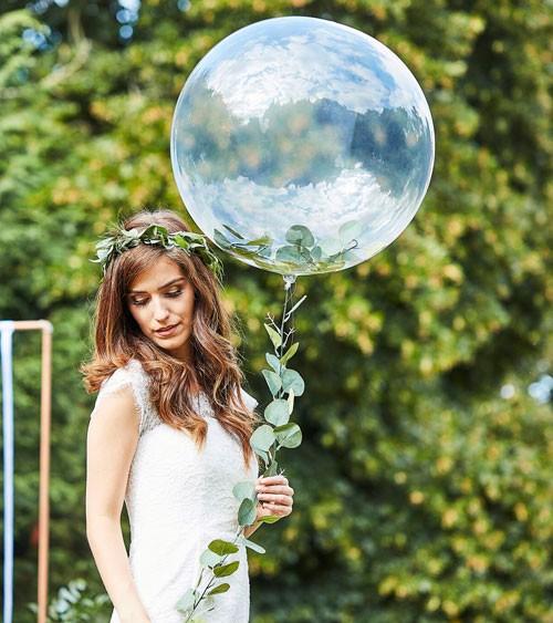 Transparenter Kugelballon mit Kunstblättern - 91 cm