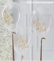 "Transparente Ballons ""Mr & Mrs"" - gold - 5 Stück"