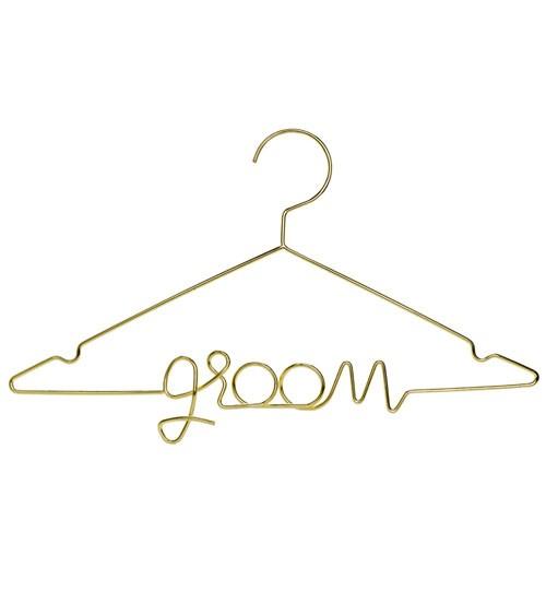 "Kleiderbügel aus Metall ""Groom"" - gold"