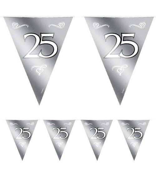 "Wimpelgirlande aus Kunststoff ""25"" - silber - 10 m"