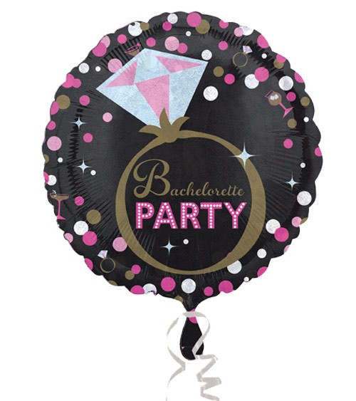 "Runder Folienballon ""Bachelorette Party"" - schwarz/pink"